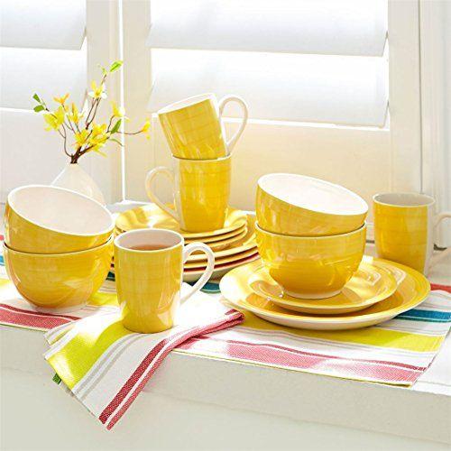 Best Kitchen Cart Brylanehome Santa Fe Handpainted Solid Stoneware Dinnerware Yellow0 You Ca Stoneware Dinnerware Green Dinnerware Indoor Outdoor Furniture