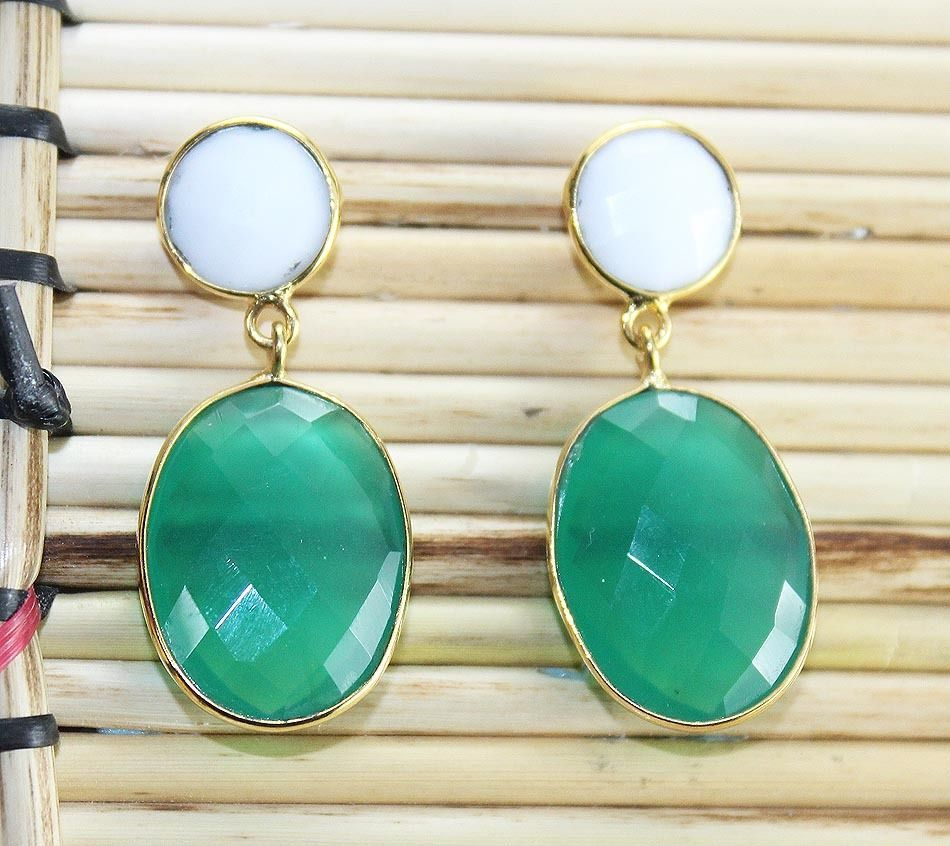 Zj-3345 Great Sale !! Pretty White Agate & Green Onyx  24k Gold Plated Earring #Handmade #DropDangle