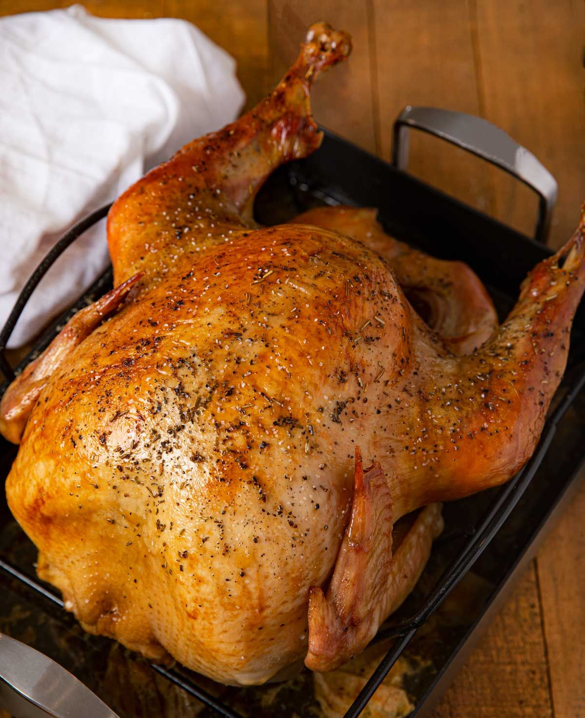 overnight roasted turkey is crispy and golden brown on the