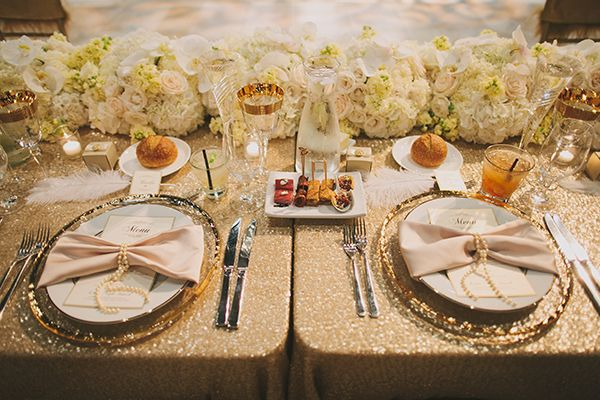 Glamorous Gatsby Inspired White And Gold Wedding Spring Wedding Decorations Head Table Wedding Head Table Wedding Decorations