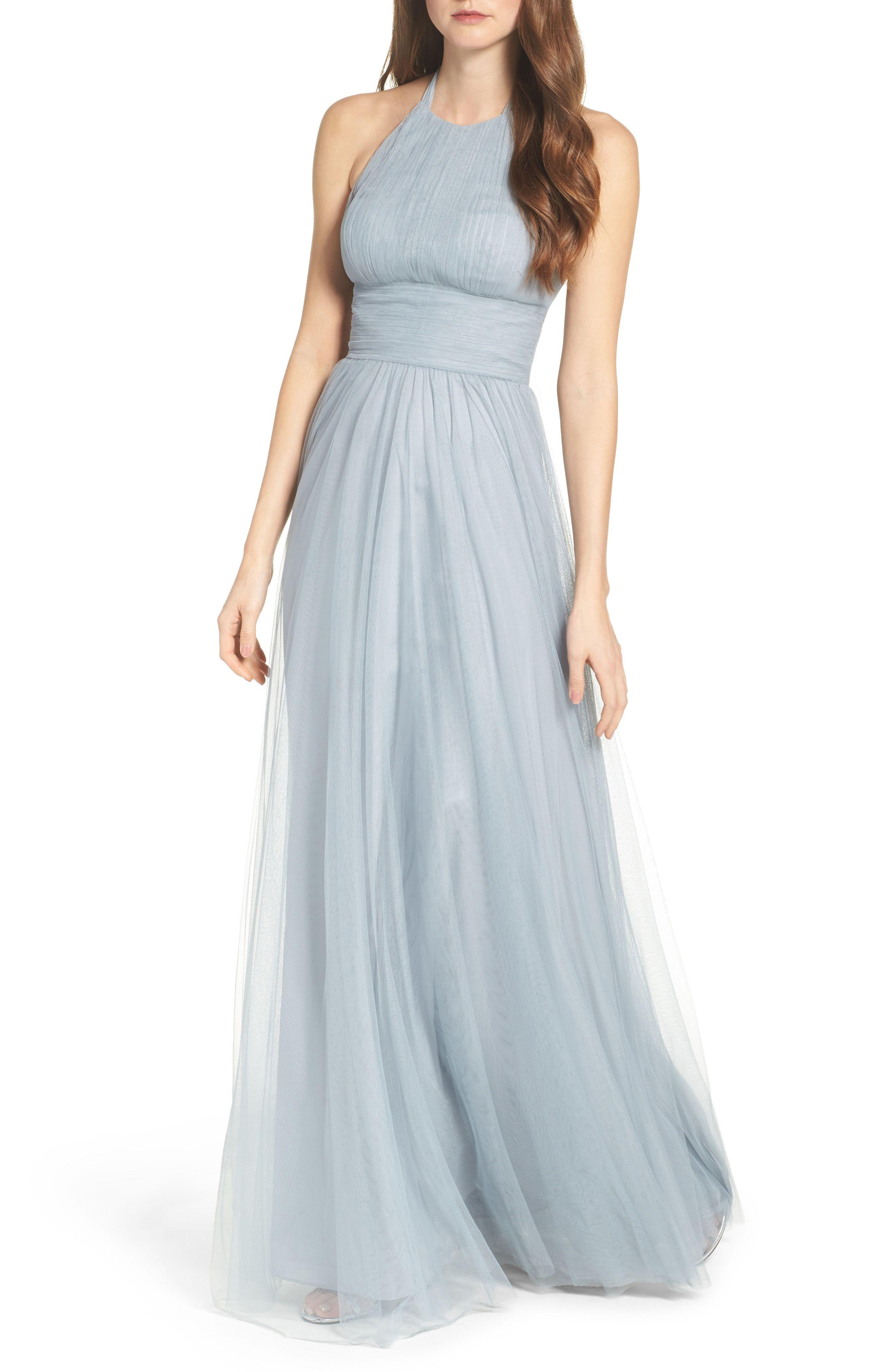 Abigale tulle halter gown pale blue bridesmaid dress bridesmaid