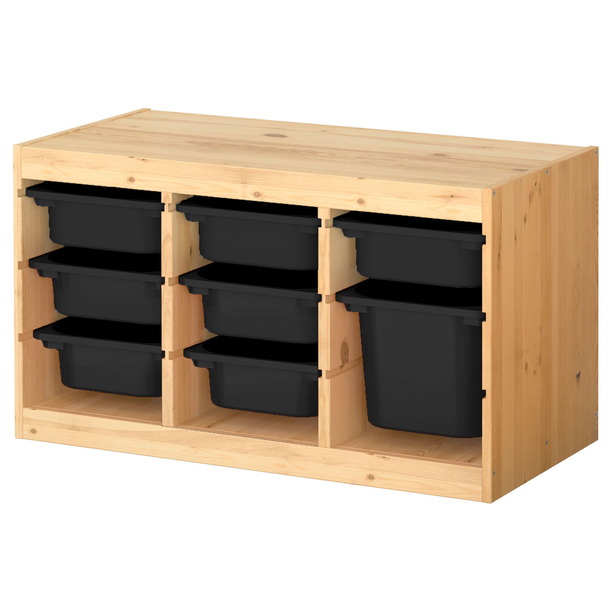 Ikea Trofast Setup With Black Bins For Studio Storage Deep