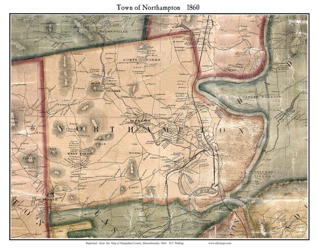 Northampton Town Map 1860 Northampton Town Map