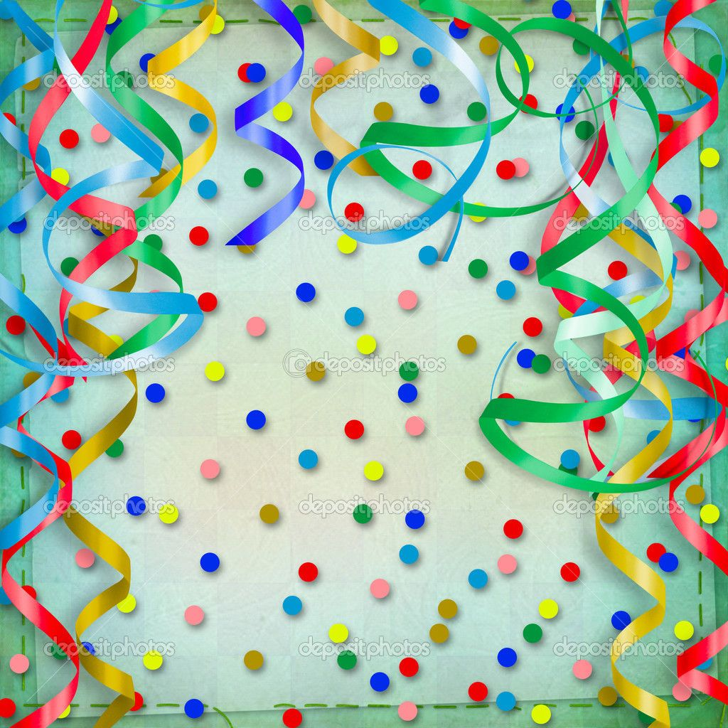 Streamers And Confetti Background Birthday Red Papo