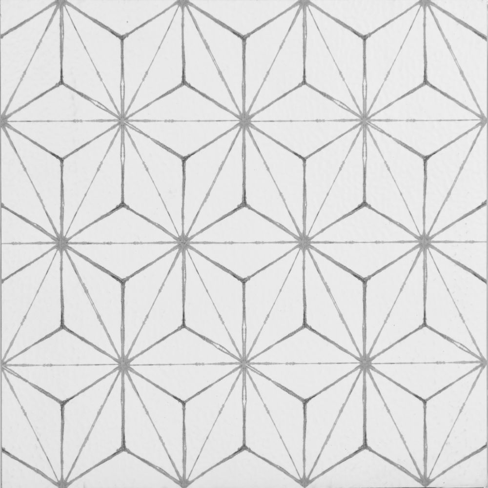 Crisscrossing Lines Give The Look Of An Intricately Tiled Floor The Grey And White Geometric Design Will Peel And Stick Floor Adhesive Floor Tiles Floor Decal