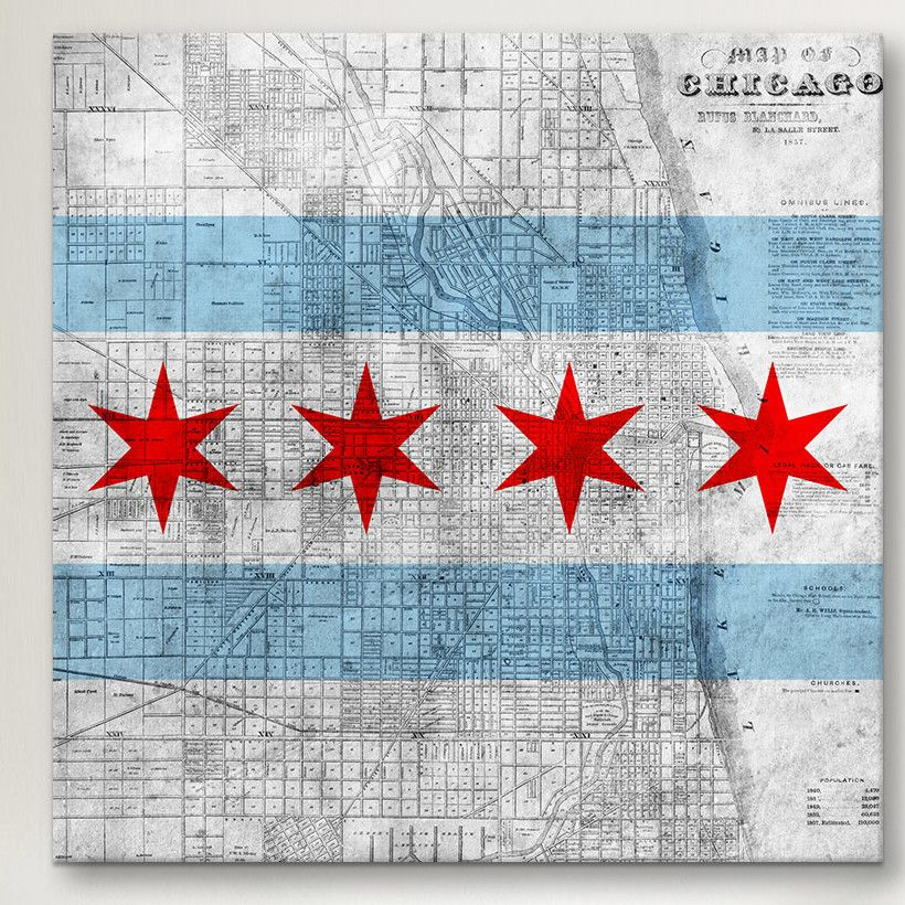Icanvas Chicago Flag Map Graphic Art On Canvas Chicago Flag Chicago Decor Chicago City Flag