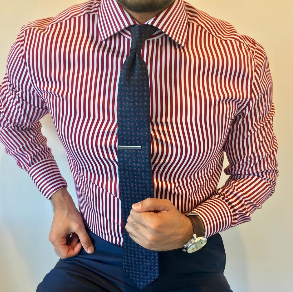 Classic Red Men/'s Skinny Tie  Polyester  with White Double Horizontal Stripes