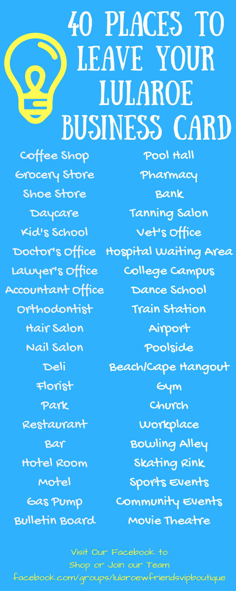 40 places to leave a lularoe business card visit our facebook group 40 places to leave a lularoe business card visit our facebook group to learn more and to shop our collection colourmoves