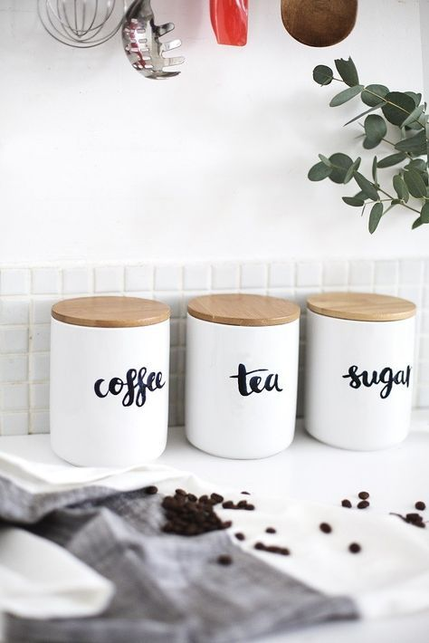 How Gorgeous Are These Minimalist Kitchen Containers For Coffee, Tea + Sugar ?