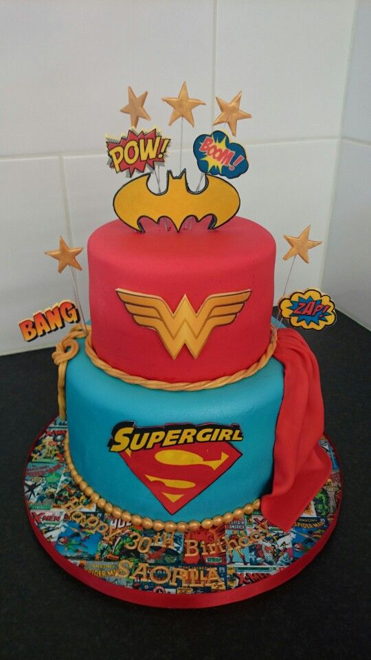 Female Superhero Cake Wonder Woman Birthday Superhero