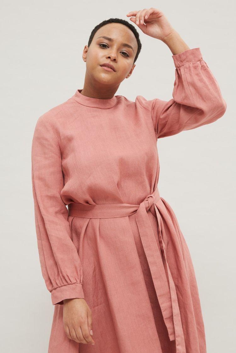Pink linen dress clothes for women plus size