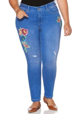 a64581c831af0 Rafaella Women s Plus Size Distressed Floral Embroidered Skinny Jean -  Atlantic - 16