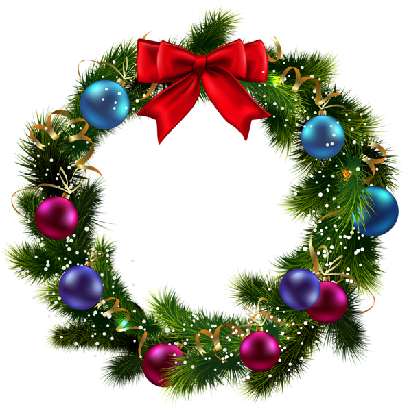 Transparent Christmas Decorated Wreath PNG Clipart