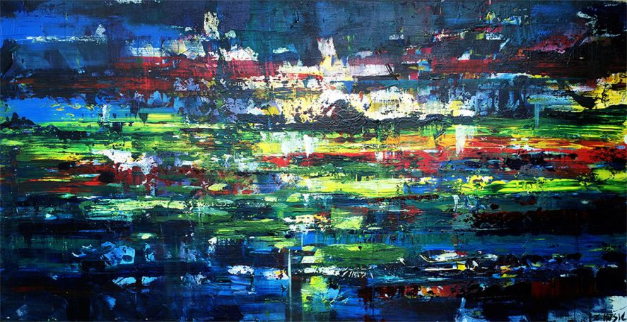 104ff60db Lights-at-ease-beneath-the-sky-abstract-art-landscape-painting -contemporary-modern-art-by-Zlatko-Music