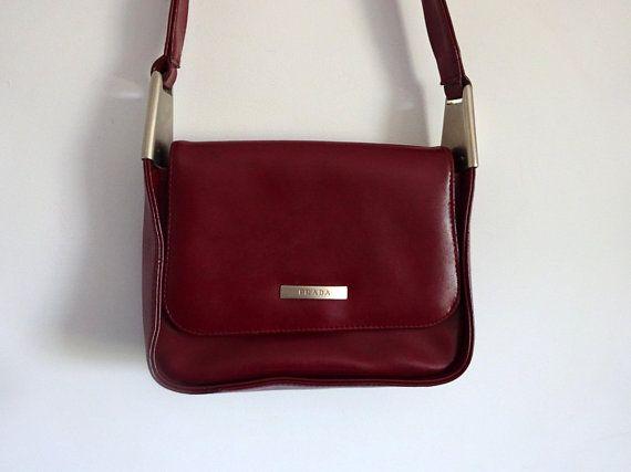 a00a9305799b4d Prada bag Vintage prada Small bag Shoulder bag Burgundy handbag Designer  handbag Artificial leather Elegant bag Burgundy bag Red handbag