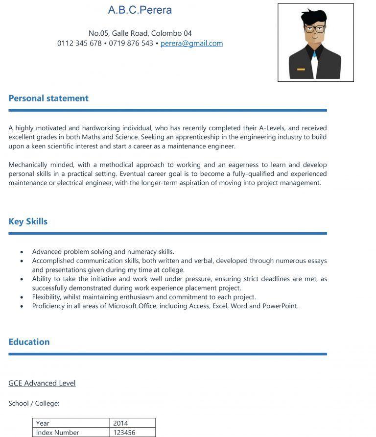 Free download cv format for school leavers in sri lanka