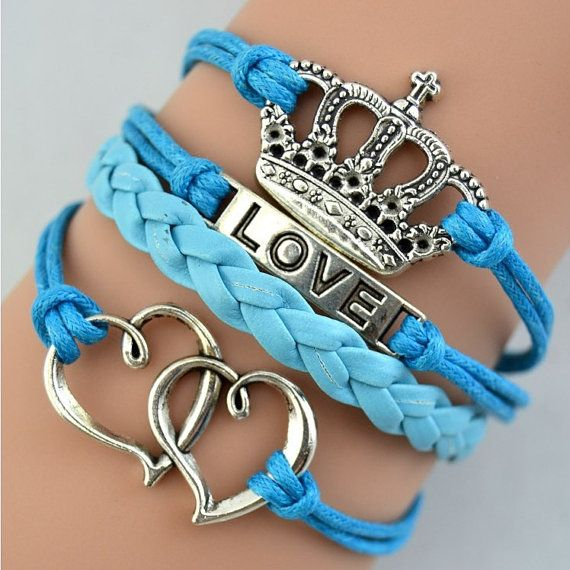 crown braceletdouble heart braceletletter charmblue by chicfavor, $3.99