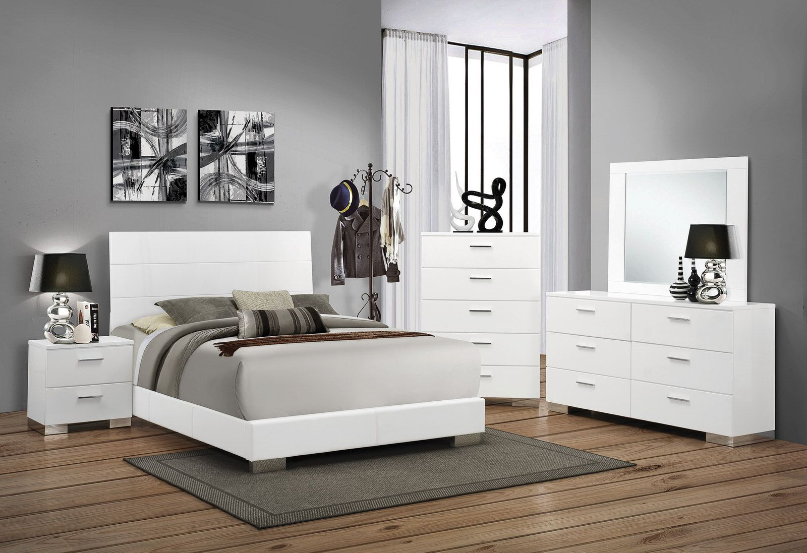 Coaster Felicity 5 Piece Panel Bedroom Set In Glossy White Special