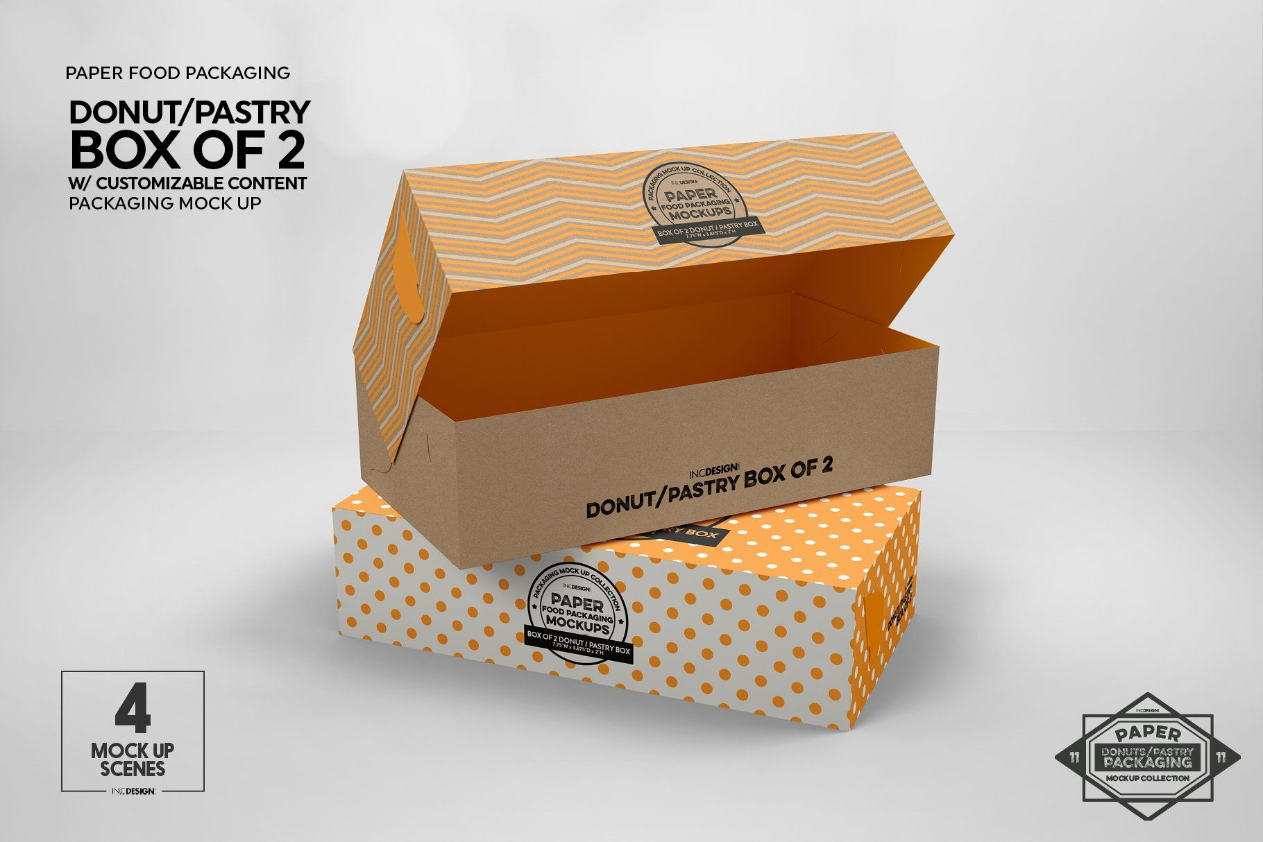 Download Box of Two Donut Pastry Box Mockup Donut#Mockup#Box # ...