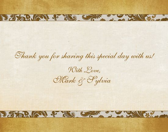 Fashionable 50th Anniversary Thank You Cards Design Golden