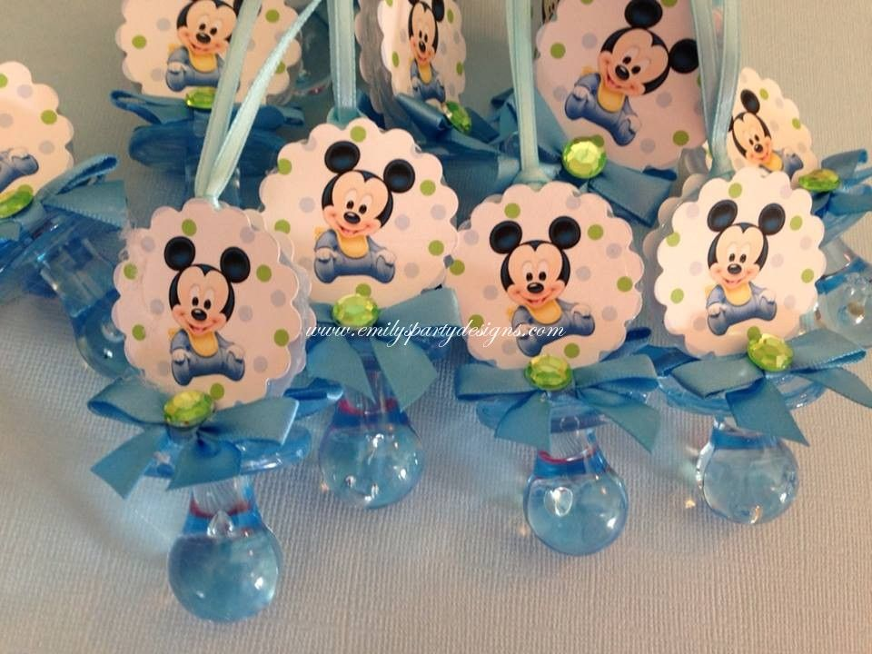"""10 Mickey Mouse Pacifier Necklace Don/'t Say /""""Baby/"""" Baby Shower Game"""