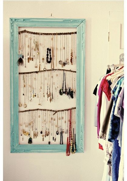 Another cute jewelry storage idea Empty picture frame twigs