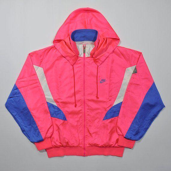 aa2d39071 Rare Vintage 80s 90s NIKE Windbreaker Pink Peach Neon Colorway Retro NIKE  Old School Aesthetic Color