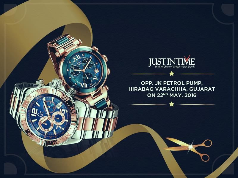 It's About Time.We're rolling out the red carpet! Immerse yourself in rare collection of timepieces, we cordially invite you to attend the Grand Opening of JUST IN TIME, Varachha Gujarat on 22nd May 2016. See you there! #JustInTime #Surat #Gujarat Call: 808-065-6656