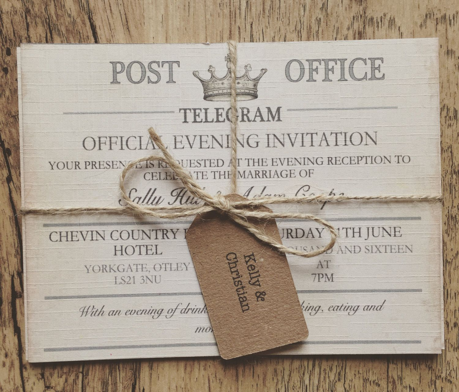 Vintage Wedding Invitations: Vintage Travel Wedding Invitation,Telegram