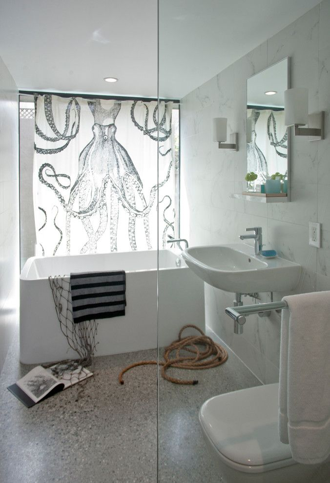 Deep Soaking Tub Bathroom Contemporary With Clear Glass Concrete