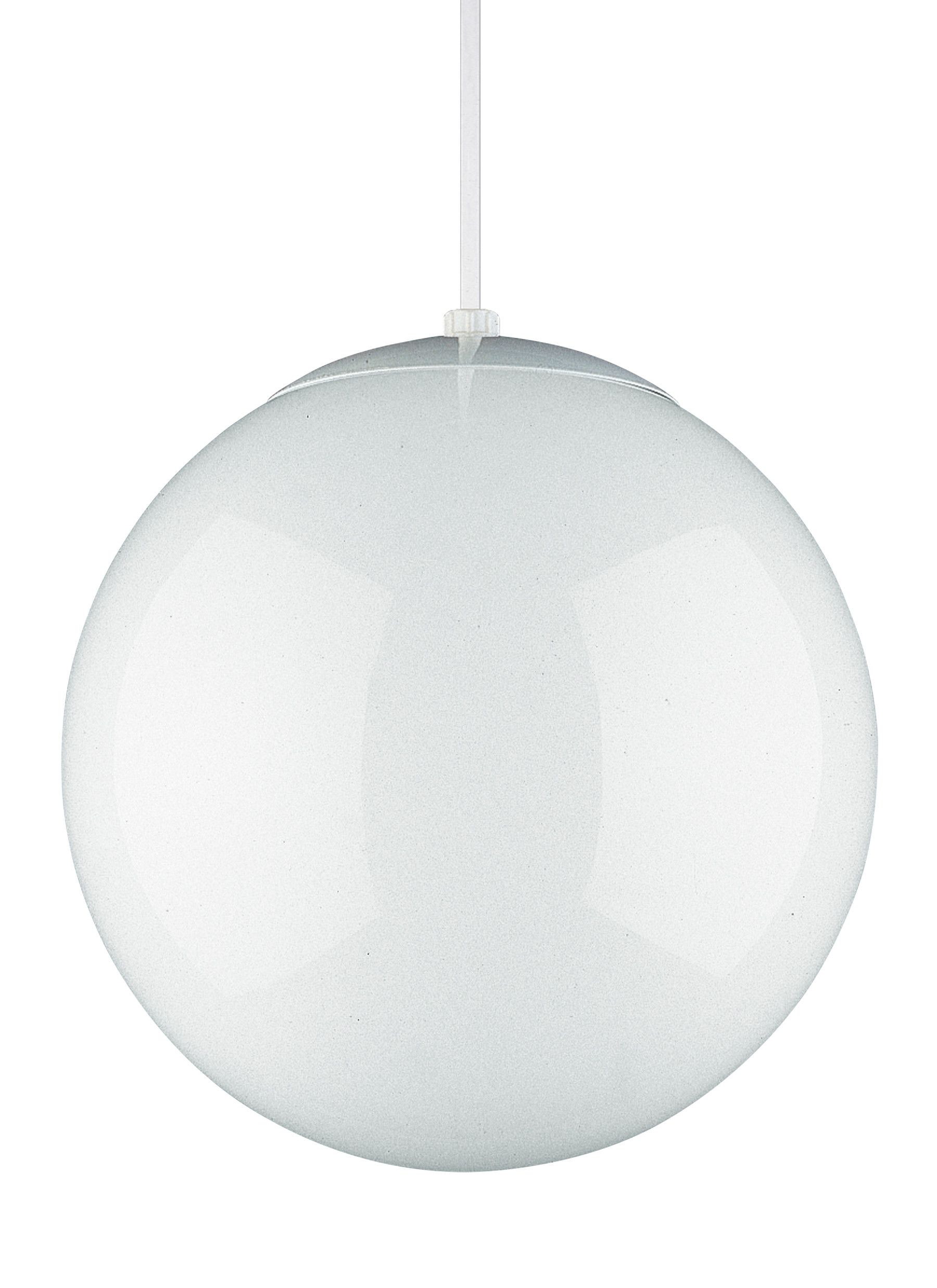 Sea Gull Leo Hanging White Globe Pendant Light In White Glass Globe Pendant Globe Pendant Light Sea Gull Lighting