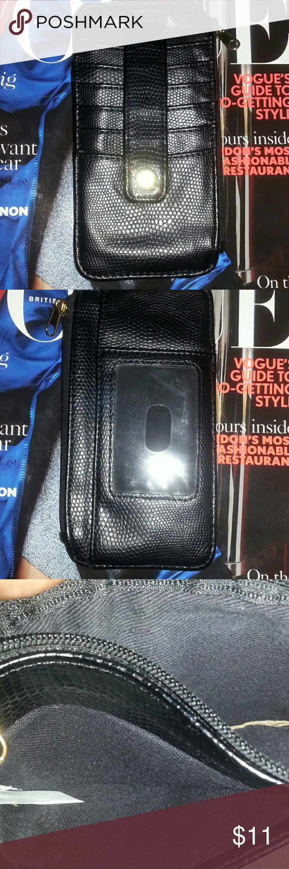 """New Merchant Wallet Faux Crocodile leather. Six slots for cards/credit cards and a slot for an ID card. One zipper slot for change or receipts and a mini slot behind the ID card area. Great for a night out - holds cash cards keys ID. Perfect addition to your larger purse/Bag. H""""3.5xW""""6.5 New Merchant  Accessories Key & Card Holders"""