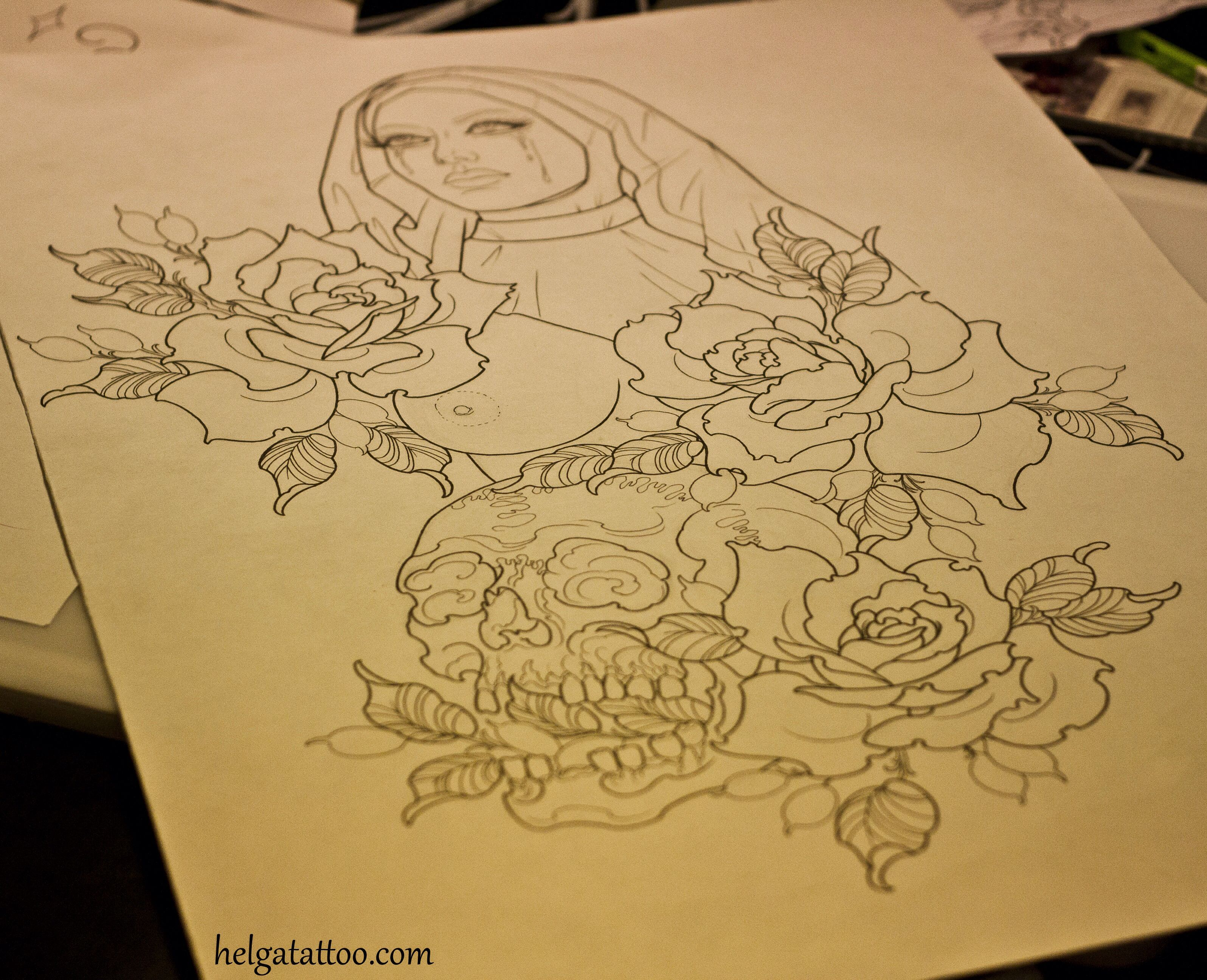 Traditional Flower Line Drawing : Flower girl tattoo neotraditional old school rose roses