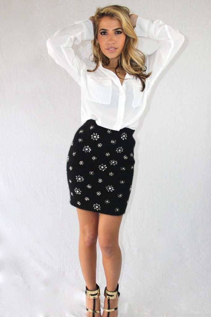 That is SO CHIC ! Embellished Knit Skirt available at www.arcboutique.com !