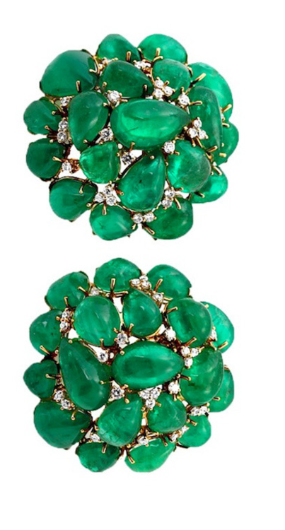 34ef6e2f1e99b Colombian Emerald Cabochon Cluster Earrings. A stunning pair of ...