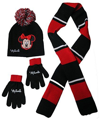Boys Girls Kids Official Disney Minnie Mouse Red Winter Hat /& Gloves Set