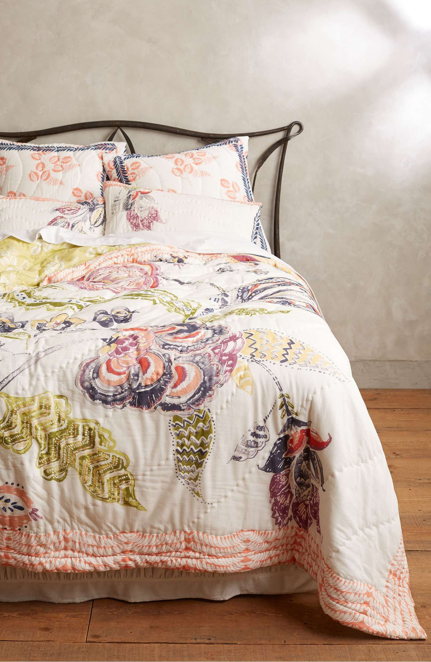 Main Image Anthropologie Woodblock Floral Quilt In 2020 Anthropologie Bedding Floral Quilt Bedding Beautiful Bedding