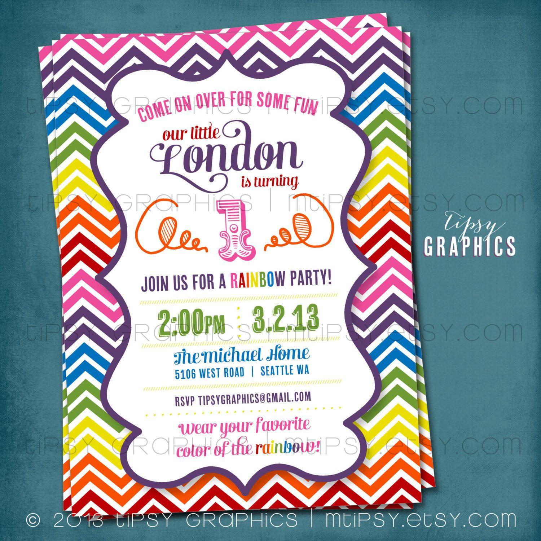 Rainbow Chevron Birthday Party Invitation. Super Fun & by MTipsy ...