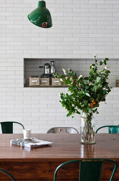subway tile. forest green. farm table.