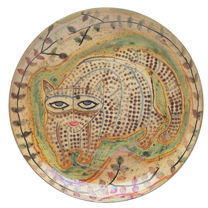 Vintage Beatrice Wood pottery charger, colorfully painted whit cat design