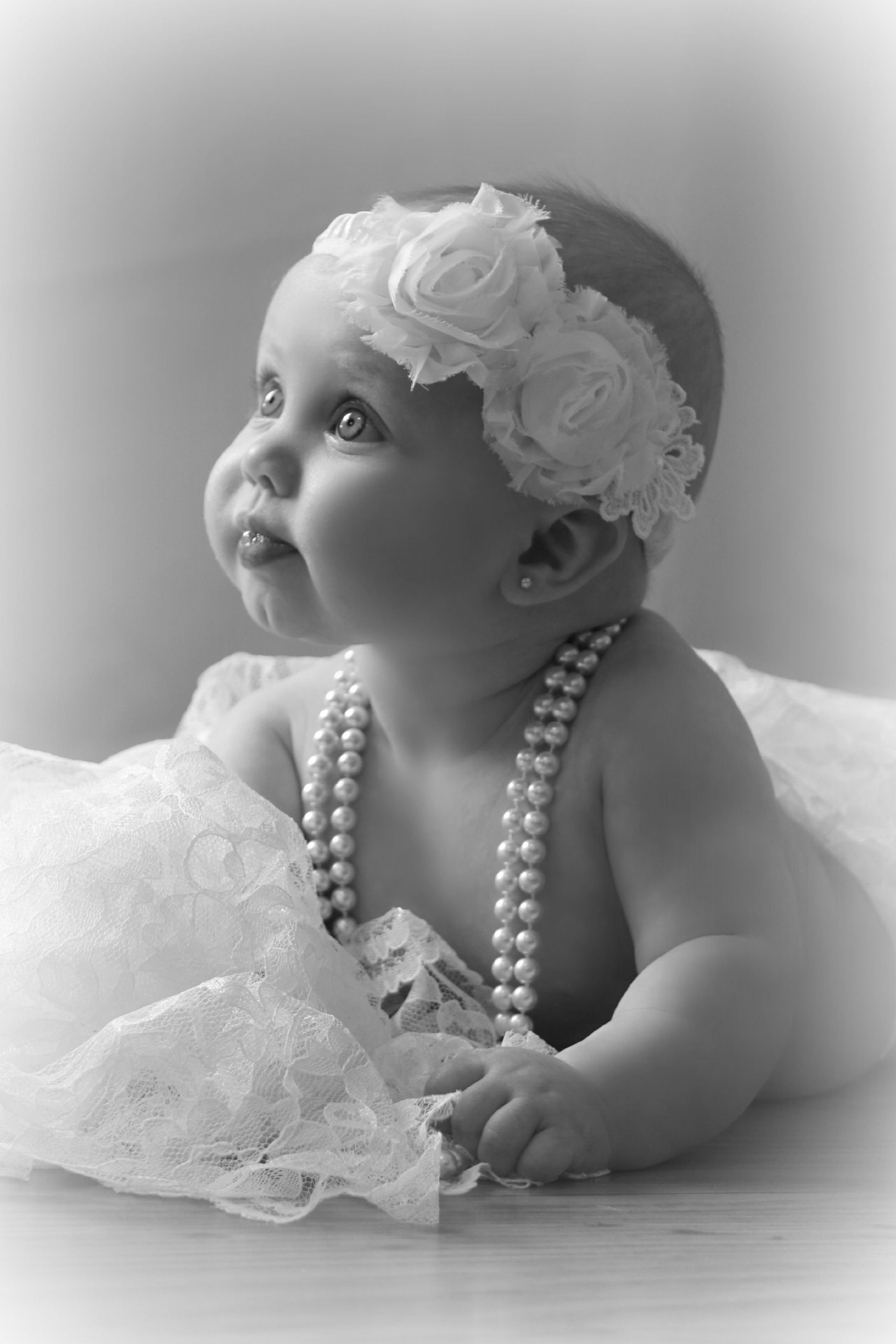 Breath taking 6 month old infant girl with lace and pearls by jpix