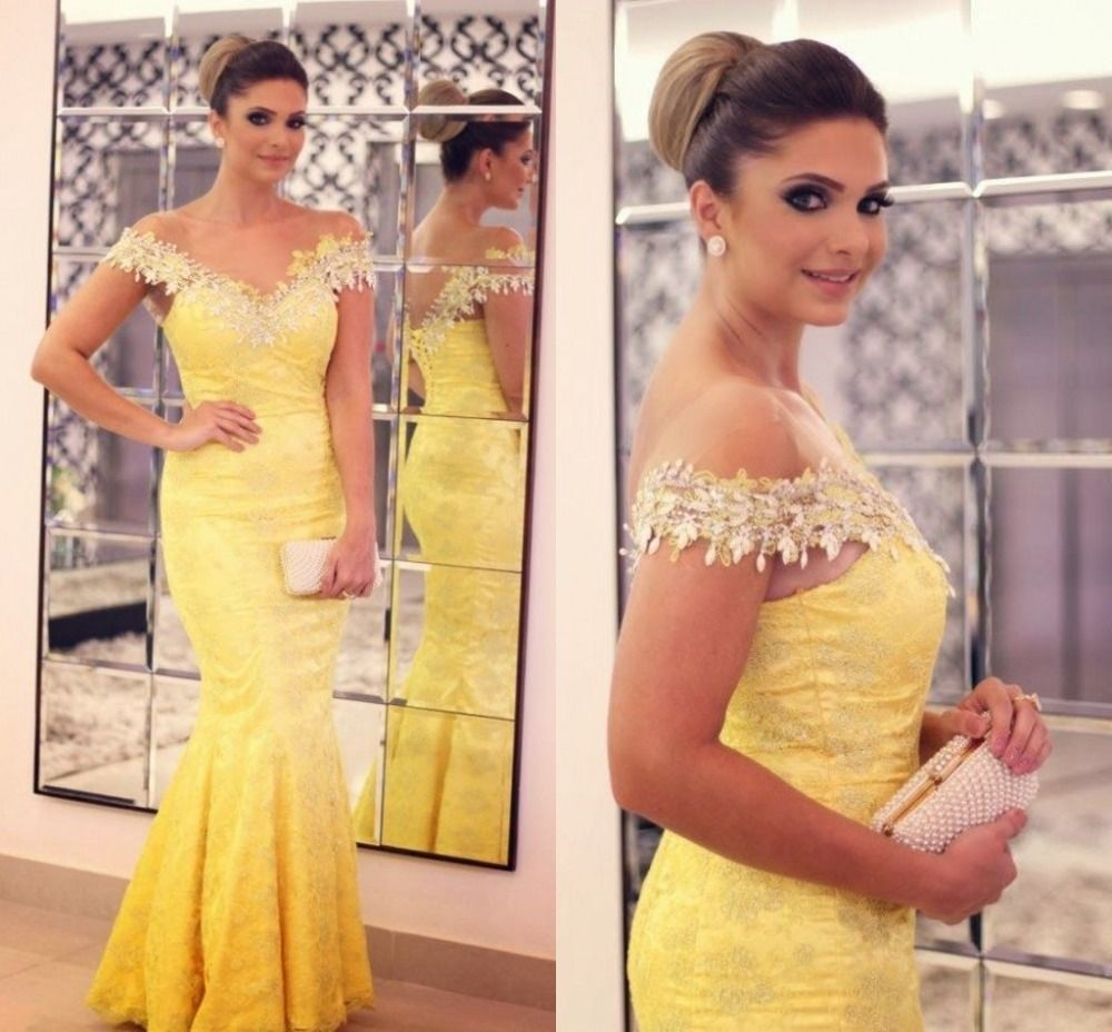 Find more evening dresses information about charming yellow long