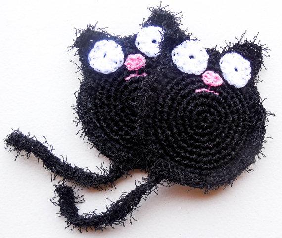 Black Cat Pot Scrubber Sets of 2 through 8 by ArtistBeeBee | crochet ...