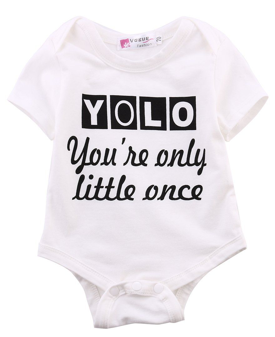 e8e9b4e1a YOLO You're Only Little Once Romper Buy it today from www.babypetite.com We  sell cute and adorable baby clothing, shoes, socks, bibs, tableware,  blankets, ...
