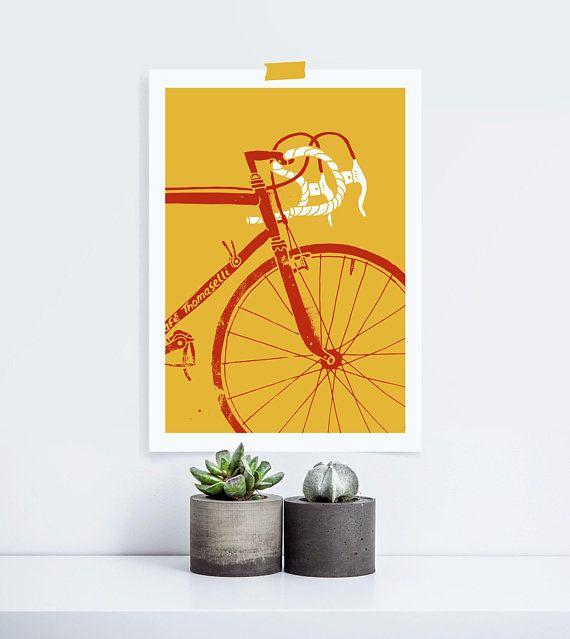 Vintage Retro Bicycle Graphic Illustration | Digital Download Wall ...