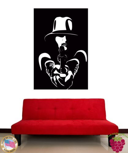 wall stickers vinyl decal gangster girl with gun mafia z1190 folk pinterest. Black Bedroom Furniture Sets. Home Design Ideas