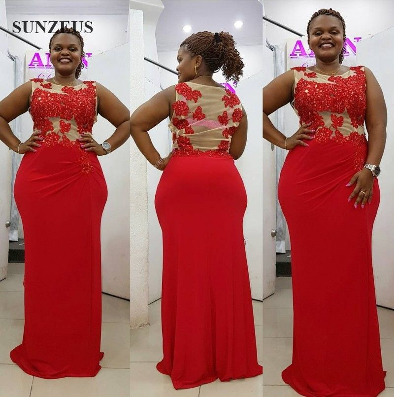 Black Girl Prom Dresses Plus Size Red Party Dress Beaded Appliques ...