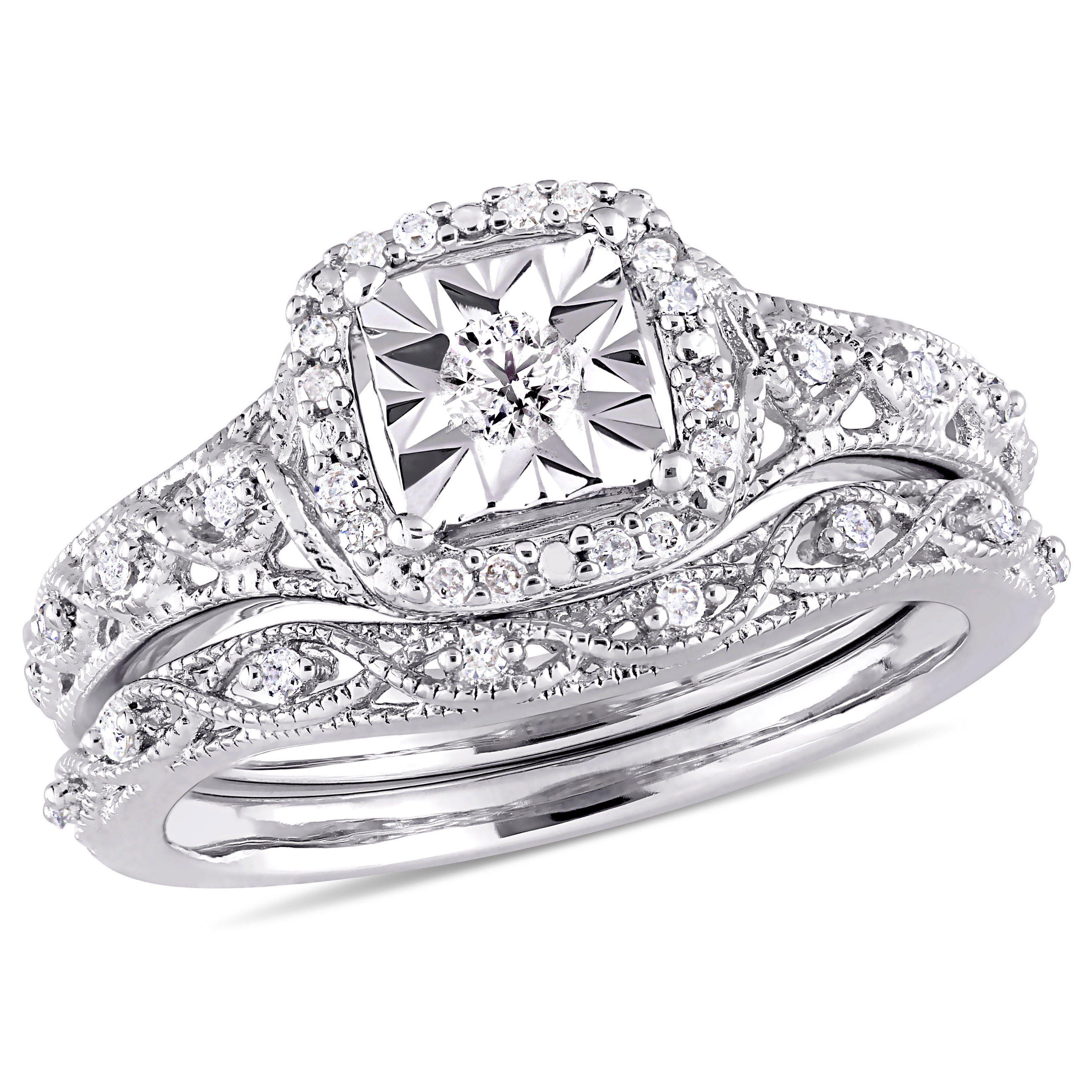 Diamond Halo Vintage Inspired 1/5ctw. Bridal Set in