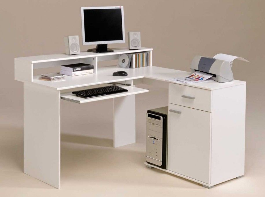 Stunning White Fashionable Computer Desk Design With Classic Shelves And Elegant White Cabinet And Small Printer Also Col Desain Ide Dekorasi Rumah Ruang Kecil