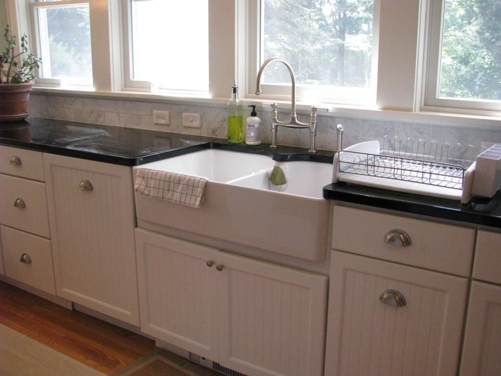 Complete Your Dream Kitchen With Kitchen Sinks Lowes: Delightful White  Shaker Style Kitchen Cabinet And · Double Farmhouse SinkIkea ...